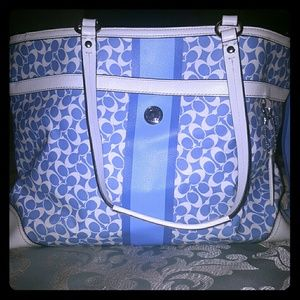 Vintage large baby blue and white Coach diaper bag